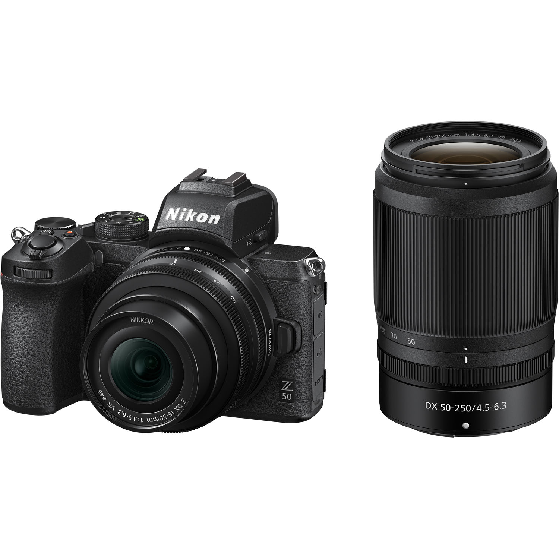 Nikon Z50 DX-format Mirrorless Camera  w/ 16-50mm F3.5-6.3 Nikkor Z DX Lens & 50-250mm F4.5-6.3 VR NIKKOR Z DX Lens